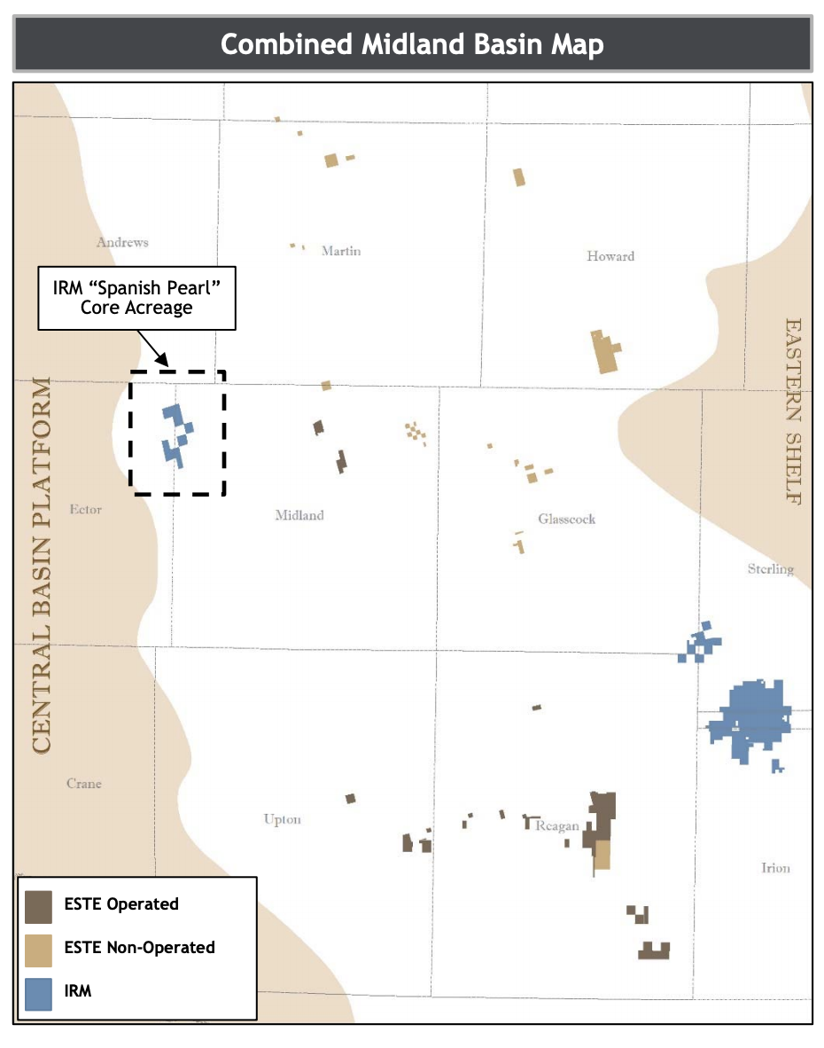 Earthstone Energy Combined Midland Basin Map