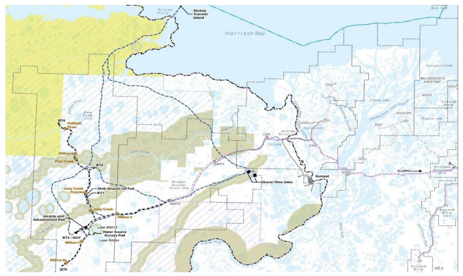 نقشه تولید شده توسط اداره مدیریت سرزمین ، برای EIS Master Development Plan EIS.  (منبع: ConocoPhillips Co.)