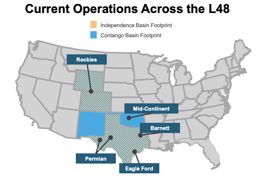 Contango Oil and Gas Independence Energy Pro Forma Combination Asset Map