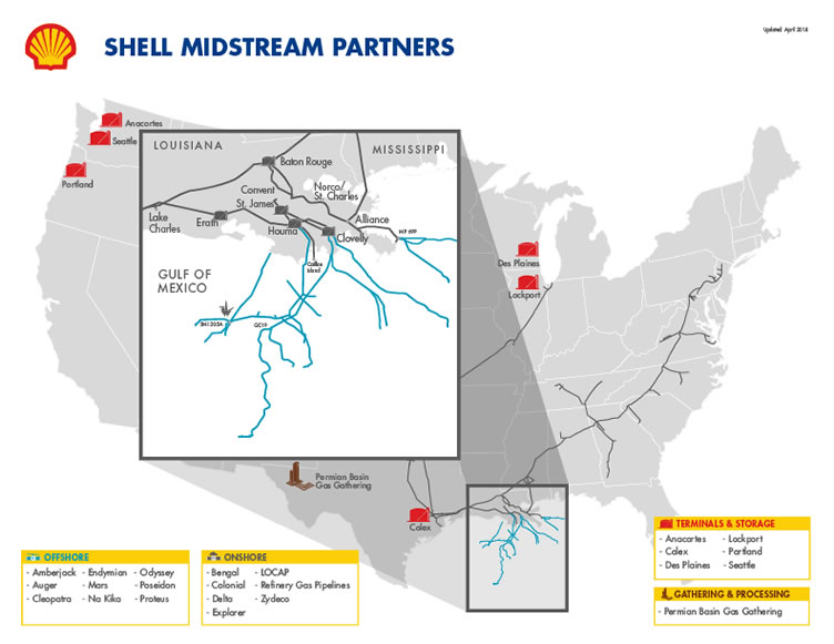 Shell Midstream Partners Asset Map (Source: Shell Midstream Partners LP)