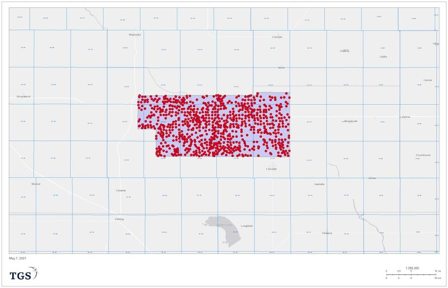 شکل 1. محل و رئوس مطالب South Gloss 3D با محل قرارگیری چاه ها با سیاهههای مربوط به Triple و Quad Combo (در طرح بررسی 834) به تصویر کشیده شده است.  (منبع: TGS)