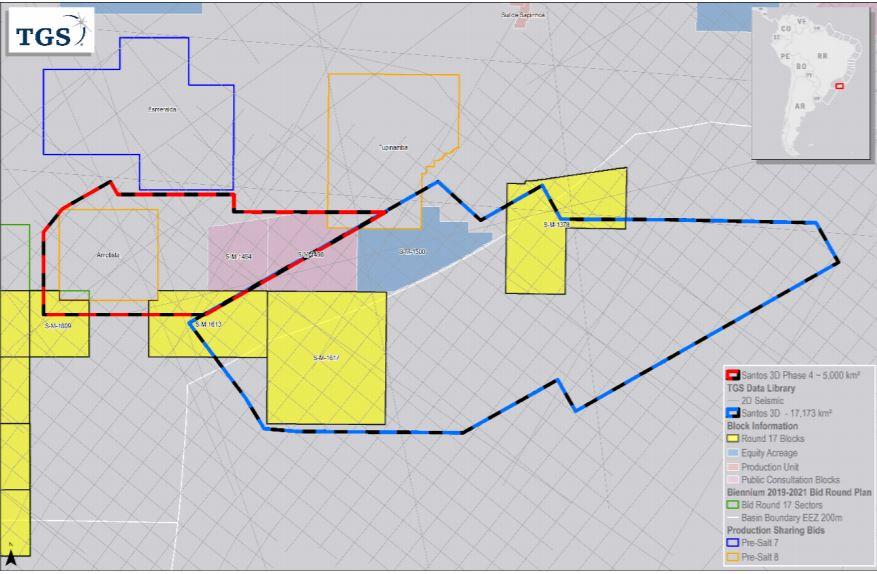 TGS شروع به تحصیل در Santos 3D Multiclient Phase 4 Offshore Brazil می کند