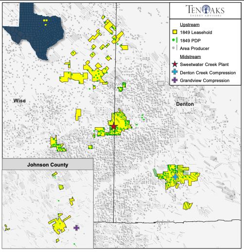 نقشه مشاوران انرژی TenOaks - 1849 شرکای انرژی Barnett Upstream and Midstream Assets