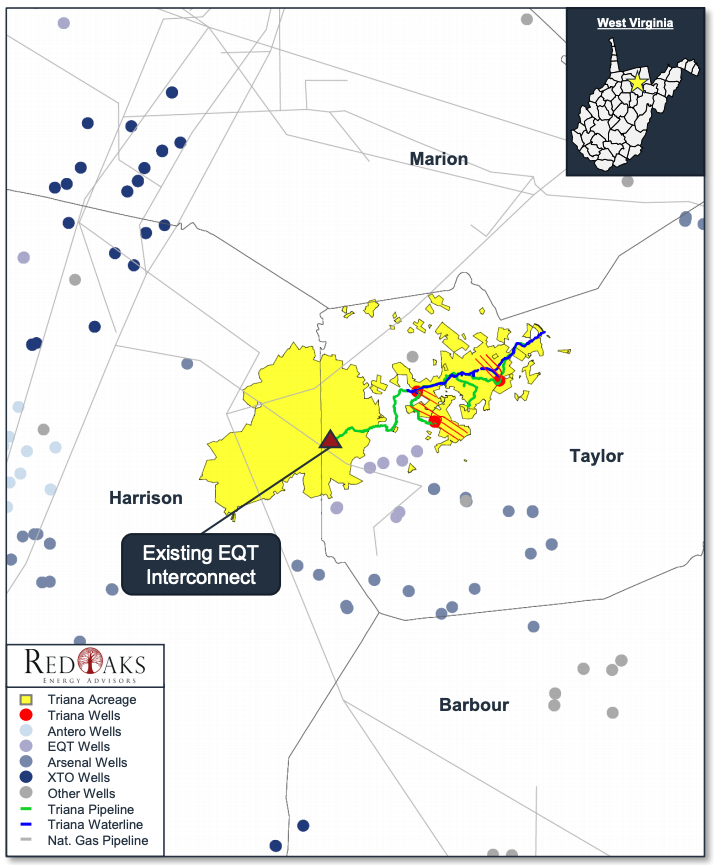 Triana Energy Operated Marcellus Properties Map, Taylor and Harrison Counties, West Virginia (Source: RedOaks Energy Advisors LLC)