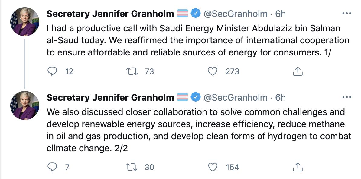 وزیر انرژی آمریکا جنیفر گرانهلم با وزیر انرژی عربستان سعودی توئیت کرد