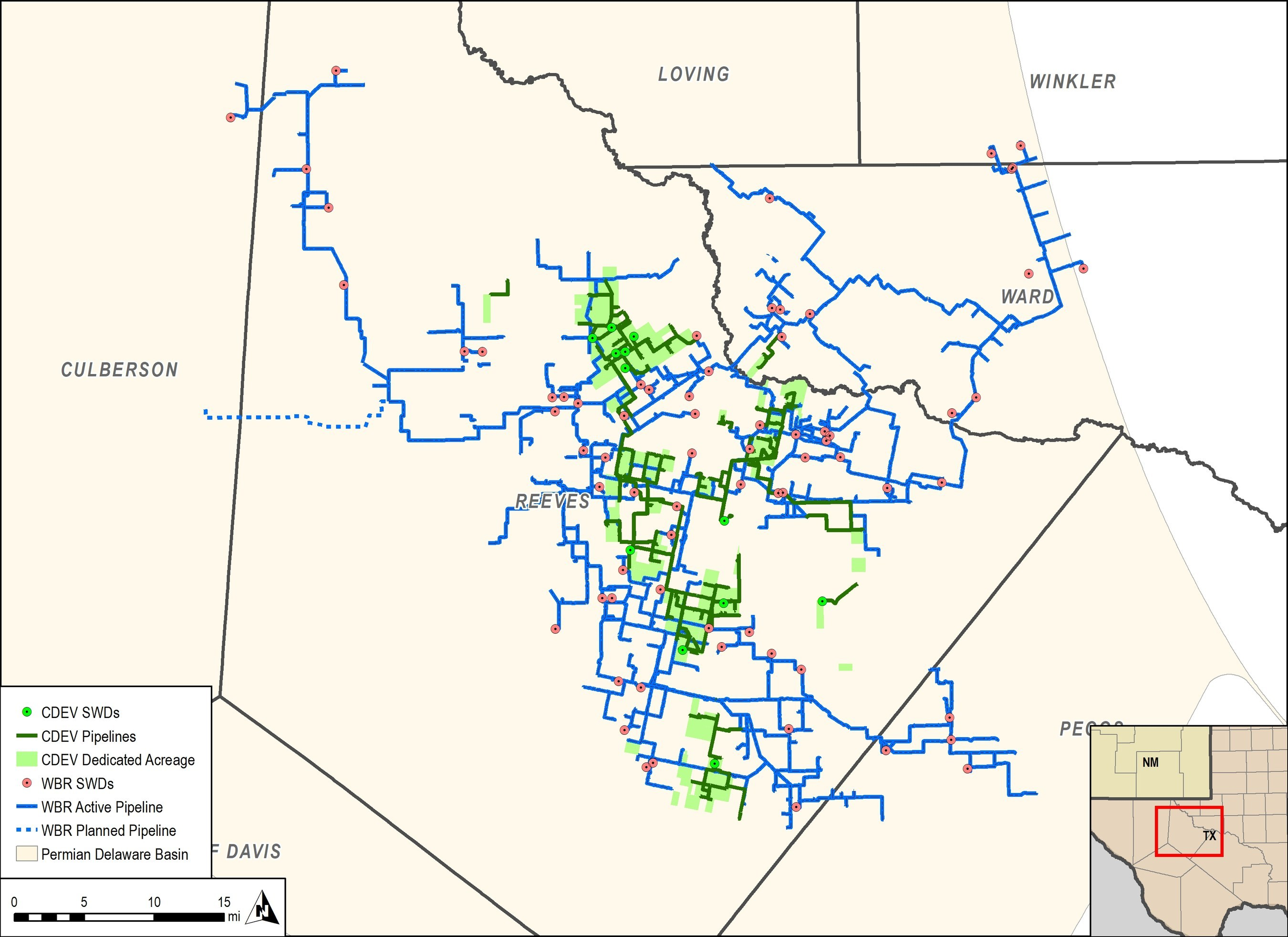 WaterBridge's produced water handling network spans the southern Delaware Basin. (Source: WaterBridge Resources LLC)