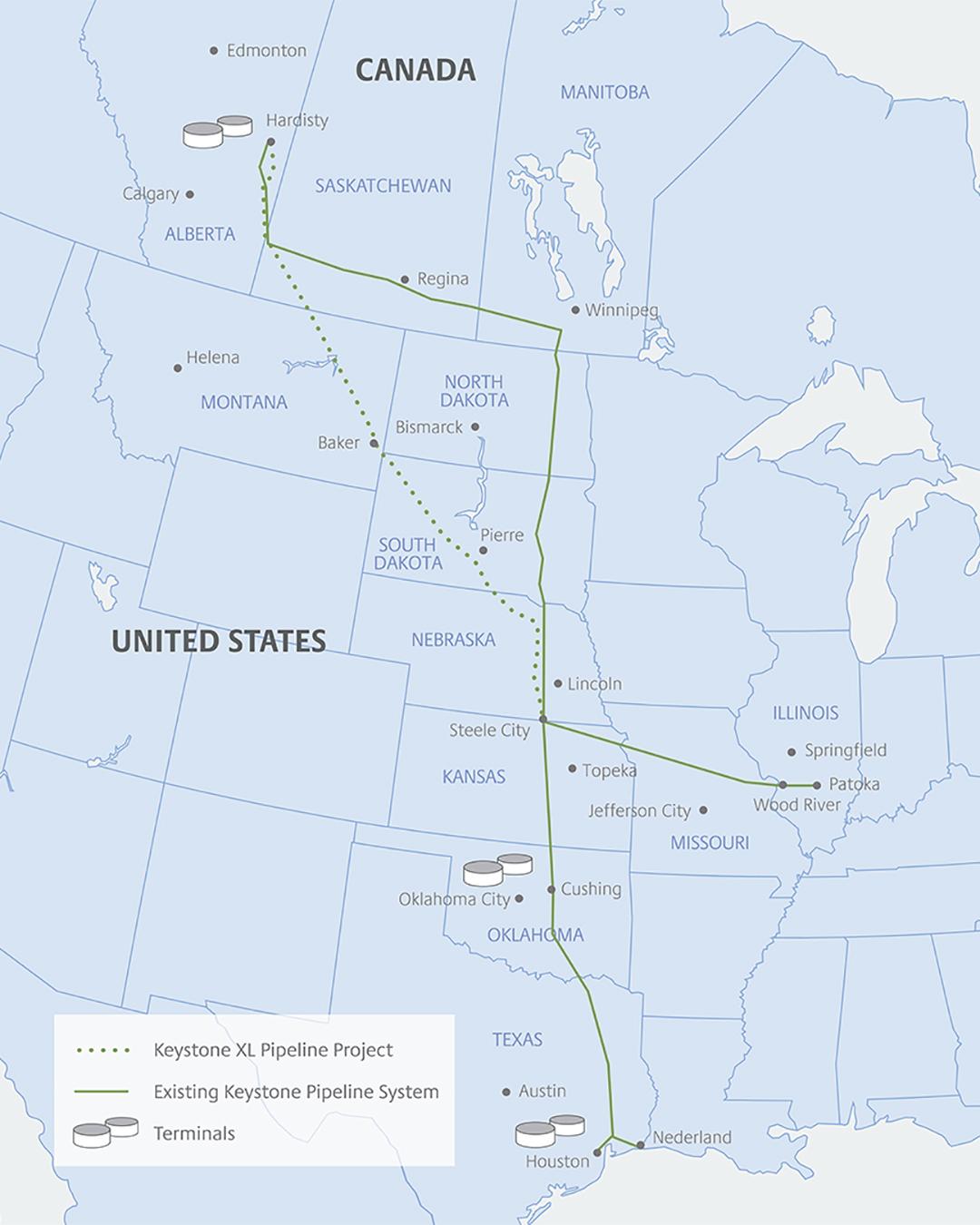 نقشه پروژه خط لوله Keystone XL (منبع: keystonexl.com)