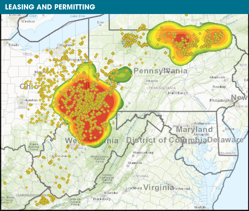 The Pennsylvania, Ohio and West Virginia tri-state area is a hot spot for leasing. (Source: Drillinginfo)