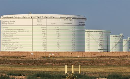 The U.S. Energy Information Administration's crude oil inventory report is superimposed on storage tanks in the Midland Basin. (Source: Shutterstock, EIA)
