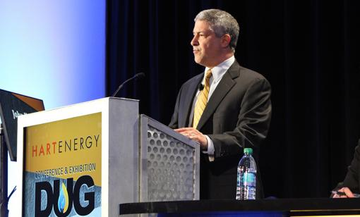 John Howie, president of Tellurian Production Inc., speaks to a crowd of approximately 1,000 industry professionals at DUG Haynesville In Shreveport, La. (Source: Mary Holcomb/Hart Energy)