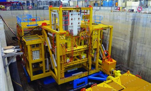 A high-viscosity, high-boost pump in a subsea pump station was tested at the OneSubsea test facility in Horsøy, Norway. (Source: Schlumberger)