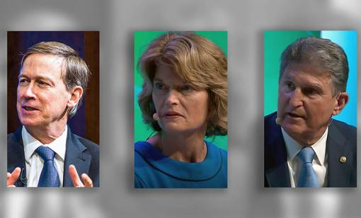 Presidential hopeful John Hickenlooper (D-Colo.), Sen. Lisa Murkowski (R-Alaska) and Sen. Joe Manchin (D-W. Va.), all representing oil and gas producing states, talked pragmatic solutions to climate change issues at CERAWeek by IHS Markit. (Source: CERAWeek by IHS Markit/Hart Energy)