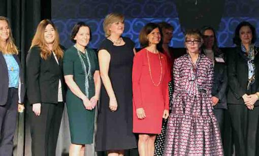 Honorees of the 2019 Oil and gas Investor 25 Influential Women in Energy on stage at the Hilton Americas in Houston. (Source: Hart Energy)