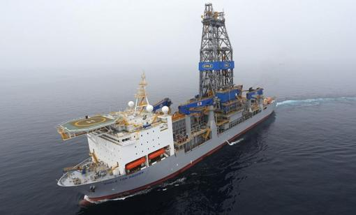 The Noble Tom Madden drillship drilled discovery wells offshore Guyana in the Stabroek Block. (Source: Hess)
