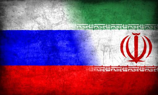 Russia and Iran flags
