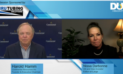 Harold hamm speaks with Nissa Darbonne during the DUG Midcontinent Virtual Conference