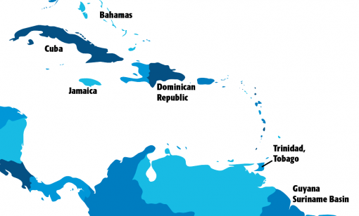 Active exploration areas in the Caribbean Sea