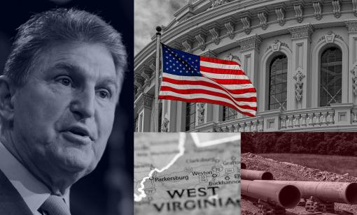 U.S. Sen Joe Manchin (D-W.Va.) heads the Senate Energy and Natural Resources Committee; U.S. Capitol; construction of the Mountain Valley Pipeline near Cowen, W.Va.; map of West Virginia. (Source: HartEnergy.com; vasilis asvestas, Andrea Izzotti, Malachi Jacobs, SevenMap/Shutterstock.com)