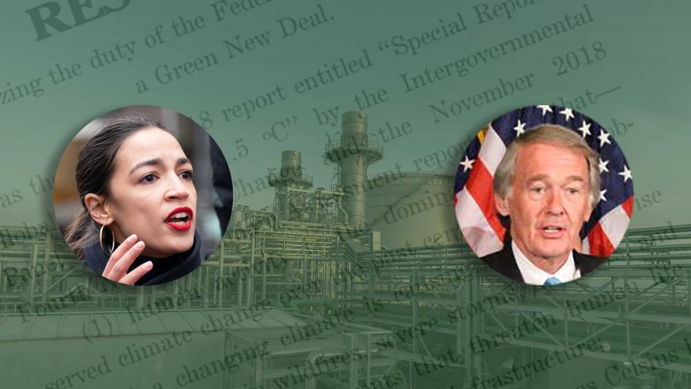 The Green New Deal resolution, proposed by Rep. Alexandria Ocasio-Cortez (D-N.Y.) and Sen. Ed Markey (D-Mass.), could benefit the natural gas sector. (Source: Shutterstock, Sen. Ed Markey's office, Hart Energy)