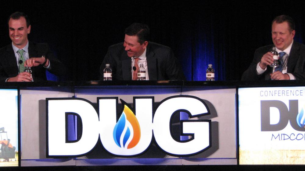 Nick Woodruff of RBC Richardson Barr, left; Jay Salitza of KeyBanc Capital Markets; and Stephen Beck of Stratas Advisors share a laugh during their roundtable discussion at the DUG Midcontinent Conference in Oklahoma City. (Source: Hart Energy)