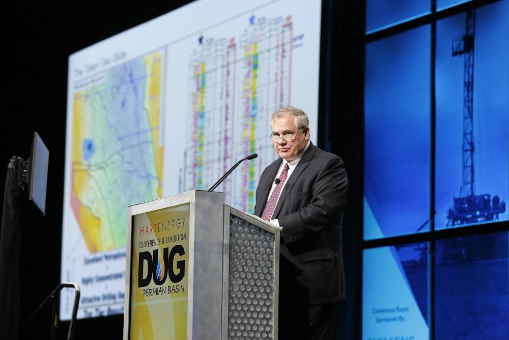 Admiral Permian Resources CEO Denzil West speaks about the company's assets April 16 during Hart Energy's recent DUG Permian Basin Conference and Exhibition in Fort Worth, Texas. (Source: Tom Fox/Hart Energy)