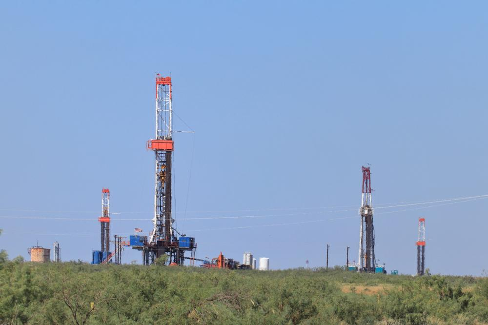 Rigs are shown in the Permian Basin, where daily oil production is more than 4 million barrels, according to the U.S. Energy Information Administration. (Source: GB Hart/Shutterstock.com)