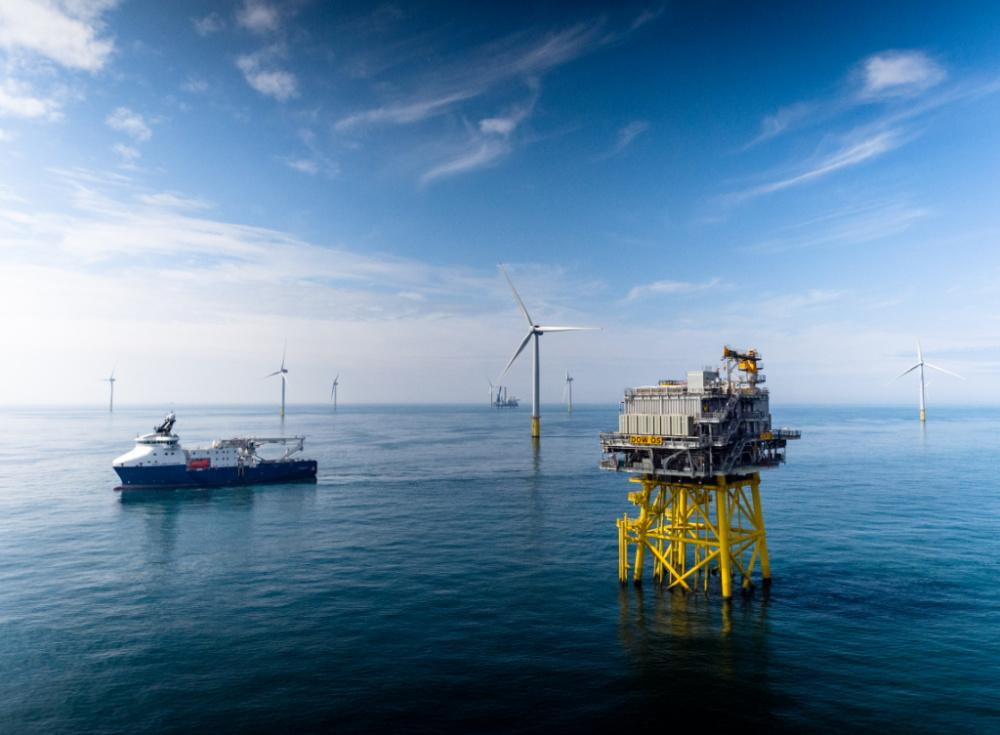 The Equinor-operated Dudgeon Offshore Wind Farm is located offshore North Norfolk, England, in a water depth of 18-25 m. The wind farm features 67 turbines. Each 6-megawatt turbine is 170 meters tall from surface to wingtip. (Source: Equinor)