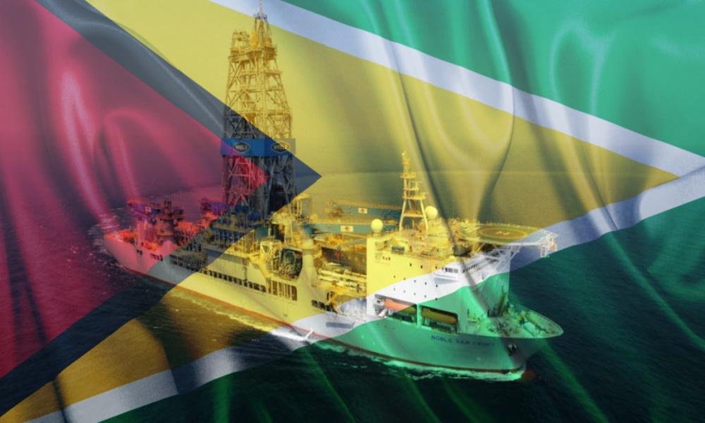 The Noble Sam Croft drillship is among the vessels used during operations on the Staborek Block offshore Guyana. (Source: Hess Corp./Shutterstock/Hart Energy)